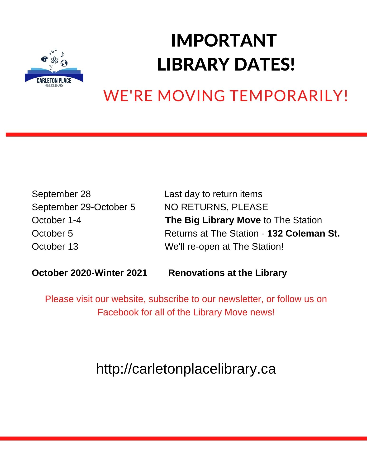 Carleton Place Public Library Move Dates
